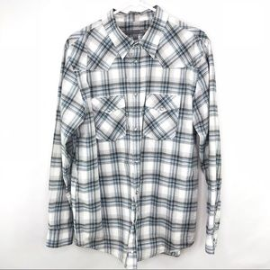 Old Navy Button Up Long Sleeve Shirt Blue White L